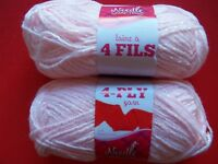 Needle Crafters 4-ply Pompadour Baby Yarn, Petal Pink, Lot Of 2 (158 Yds Each)