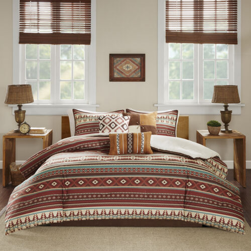 BEAUTIFUL LODGE CABIN SOUTHWEST BROWN TAUPE RED RUSTIC COUNTRY COMFORTER SET