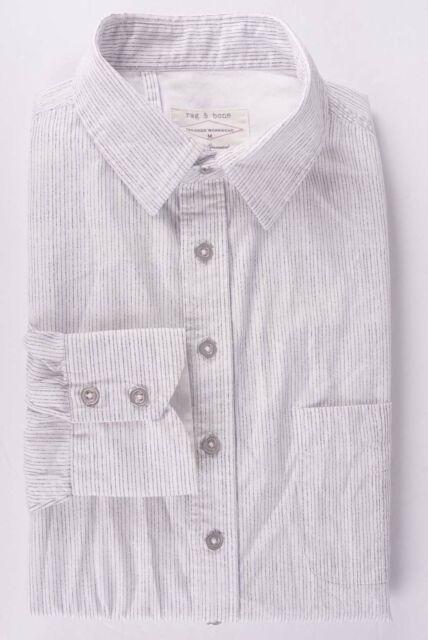 *.* Rag & Bone Shirt Tailored Workwear White Black Stripe Size M *C0914a6