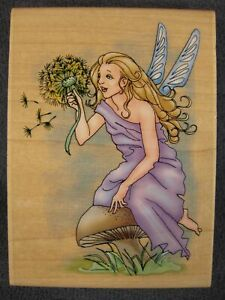 Inkadinkadoo-Winged-Fairy-9077-Y-Nancy-Cole-Large-Rubber-Stamp-Wood-Mounted