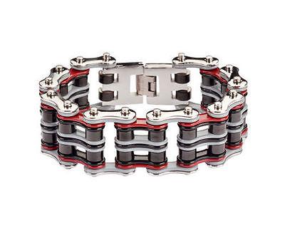 Men/'s Stainless Steel Silver Grey Red Black Bike Chain Bracelet US Seller