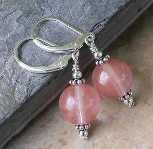 12 mm Rose Pastèque Tourmaline Perles Rondes Argent Dangle Earrings PE112