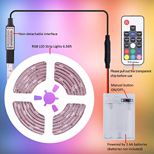 RGB DMEIXS LED STRIP LIGHTS 2 PACK 6.56 FT 17-KEY REMOTE CONTROLLED