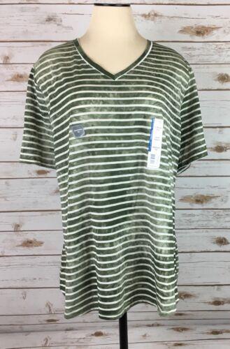 NEW Womens Terra /& Sky Tee Shirt Green Stripe Split V-Neck Size 2X 20W-22W