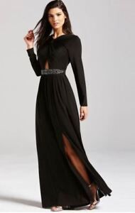 d6976fba1127 Black Maxi Dress Size 12 Little Mistress Bead Detail Long Sleeve ...