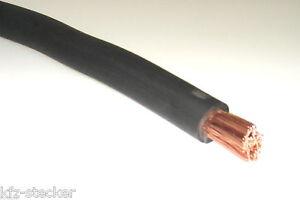 1m FLY Fahrzeugleitung schwarz 10mm² Batteriekabel KFZ Lade Anlasser Massekab.