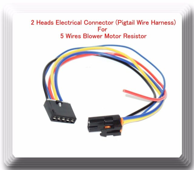 2 heads 5 wire harness pigtail connector for blower motor resistor rh ebay com blower motor wiring harness 2005 saab 9-3 blower motor wiring harness 2005 saab 9-3
