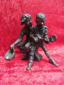 Vecchio Bronzo,Künstler-bronze - Scultura,2 Mendicante Autografato Massiccio