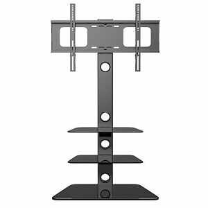 Cantilever-Glass-TV-Stand-with-3-Shelves-Bracket-for-27-55-inch-Plasma-LCD-TV