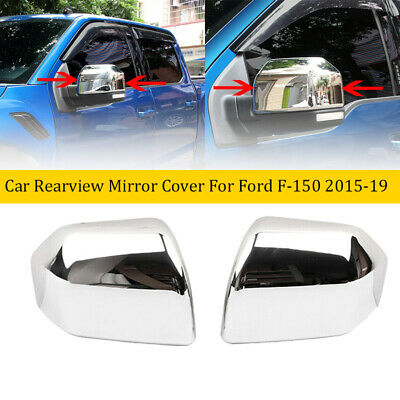 Fit For Ford F150 2015-2019 Chrome Rear View Side Mirror Cover Overlays Trim