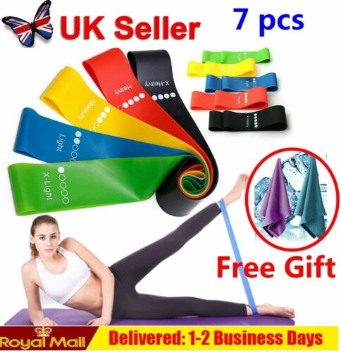 Resistance Bands Loop Kit Weights Home Fitness Latex Gym Workout Set or Singles