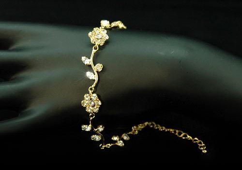 Hochzeit Mode Blumen Klare Strass Gold Armband B010