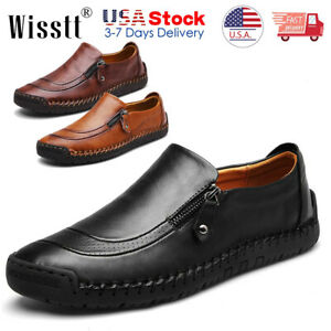 Mens Leather Shoes Casual Round Toe