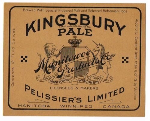 Unused 1920s CANADA Winnipeg Pilissier/'s KINGSBURY BEVERAGE ½ of 1/% BEER Label