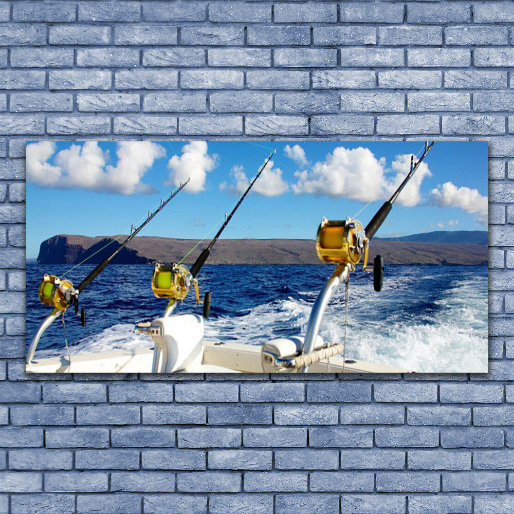 Print on Glass Wall art 140x70 Picture Image Fishing Sea Landscape