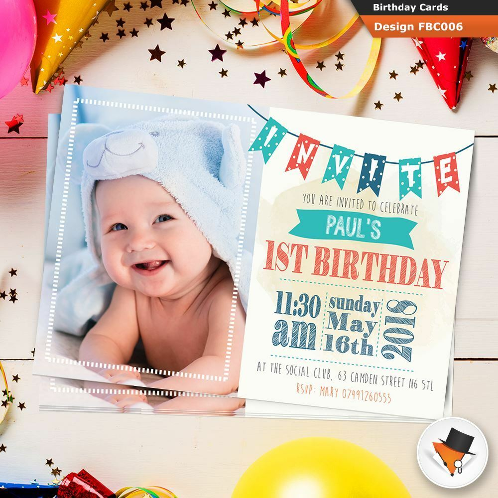 Personalised Photo Boys Birthday 1st First Party PHOTO Invitations Free Proof 02fea1