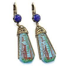 NEW SWEET ROMANCE ART DECO STYLE BLUE GODDESS EGYPTIAN EARRINGS  ~~MADE IN USA~~