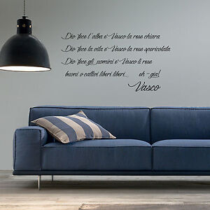 Adesivi Murali Vasco Rossi.Details About Wall Stickers Words Phrases Decoration Vasco Rossi Adhesive Wall Music Aphorism Show Original Title