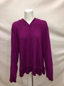 Cuddl-Duds-Ultra-Comfort-Hooded-Tunic-with-Rib-Detail-Bright-Plum-Medium-Size