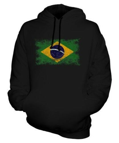 BRAZIL DISTRESSED FLAG UNISEX HOODIE TOP BRASIL FOOTBALL BRAZILIAN GIFT