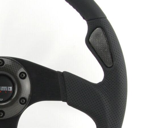 Momo Cuir troué Sport Volant JET 350 mm noir anneau en Cadre en Carbone steering