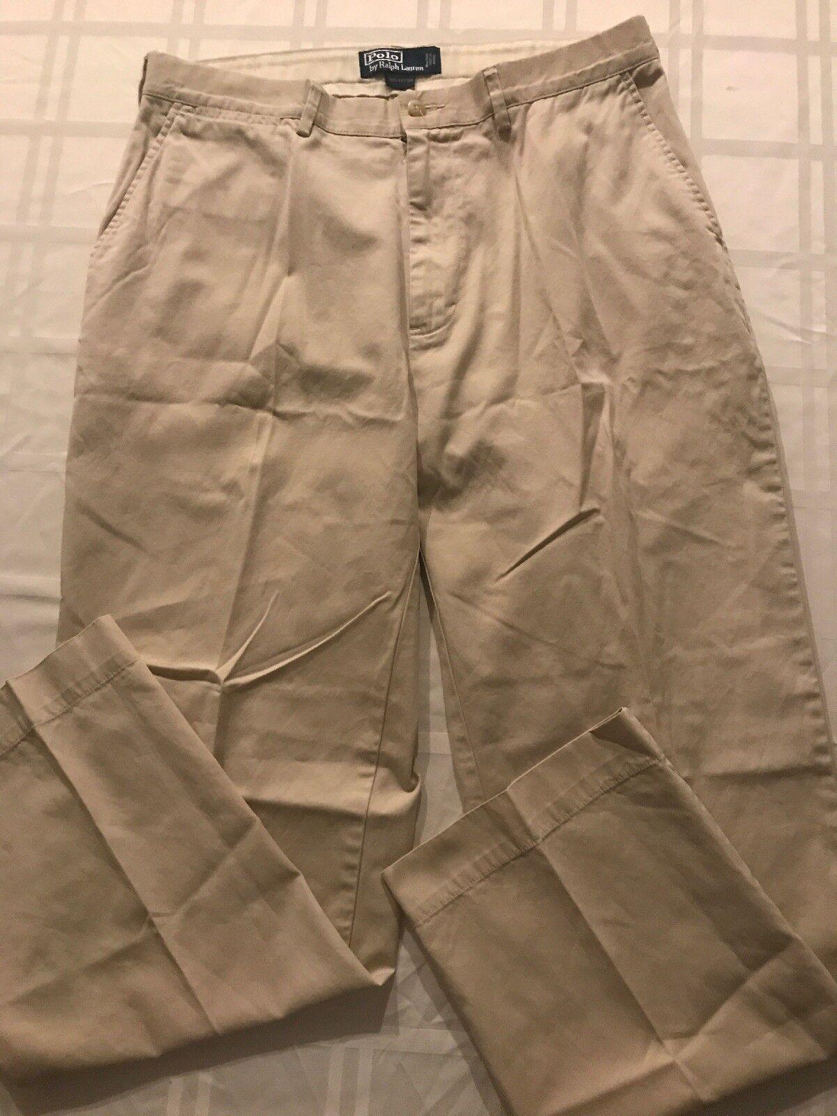 Polo Ralph Lauren 34X30 100% Cotton Lightweight Beige Casual Dress Pant TS8