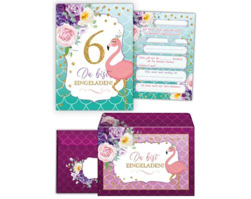 Details about  /Einladungskarten mit Umschlägen 6 Kindergeburtstag sechste Mädchen Flamingo