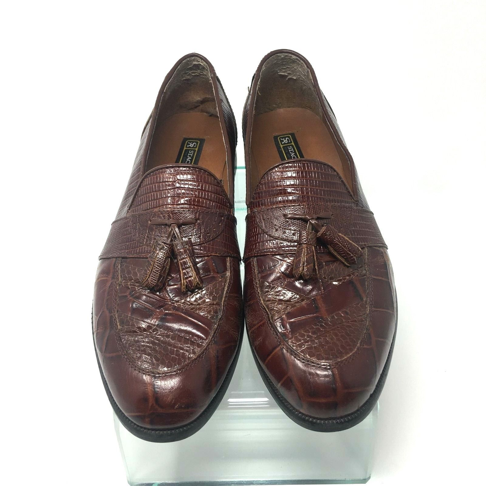 Stacy Adams Mens Snakeskin Tassel Dress shoes Size 10.5M 23121-03 EUC