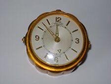 VINTAGE JAEGER MINIATURE 8 DAY DESK / ALARM CLOCK IN GOOD WORKING ORDER