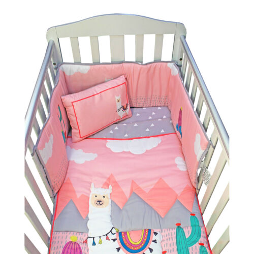 Cama De Bebé Completo Juego De Cama Cuna parachoques de Edredón Rosa Alpaca Sábana Bajera Almohada