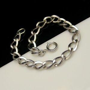 STERLING-Silver-Vintage-Charm-Bracelet-Oval-Scored-Links-New-Old-Stock