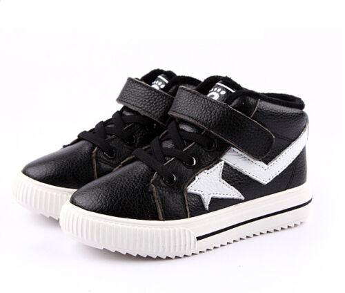 Freycoo Genuine Leather Kids Boys Girls High Top Shoes 26 27 28 29 30 PB-9009BK
