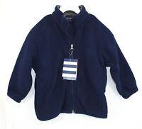 Lands End Child Small Polartec Aircore 200 Polar Fleece Jacket Navy Blue