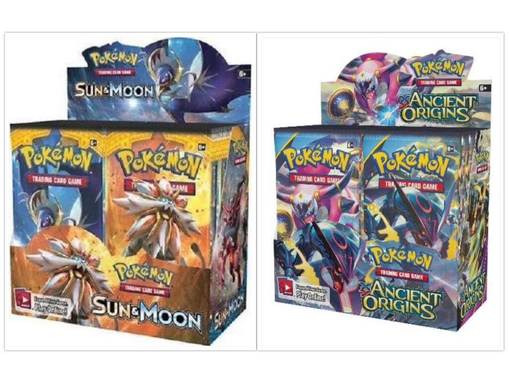 Pokemon TCG Ancient Origins + Sun Sun Sun & Moon Base Set Booster Boxes Sealed 5127a1