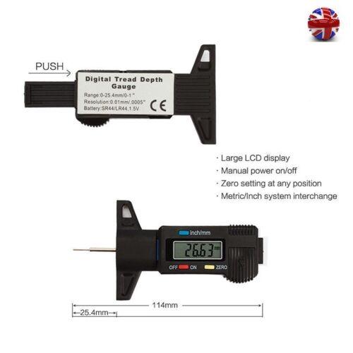 Digital LCD Tyre Tire Tread Depth Gauge Brake Shoe Pad Car Tester Measuring Tool
