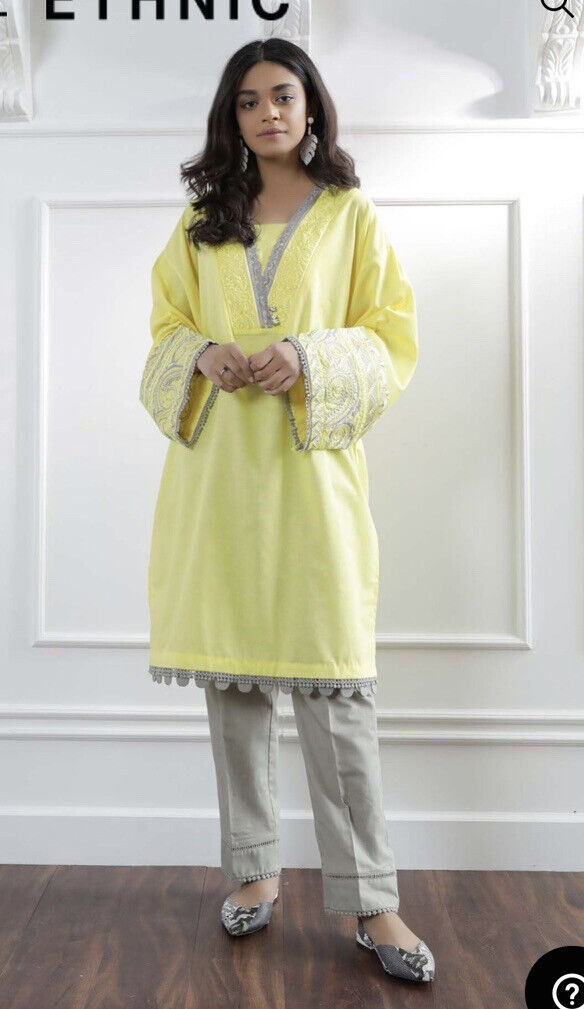 Ethnic By Outfitters Medium Embroidered Kurta With Trousers/