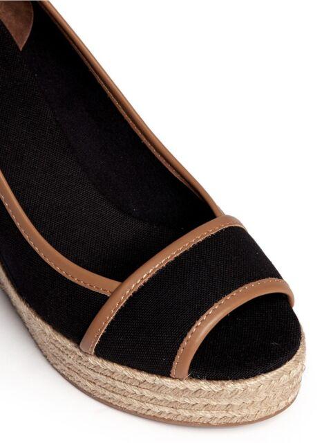 2d46cee12 Tory Burch  majorca  Wedge Sandals PEEP Toe Espadrille PUMPS Shoes Black 8  for sale online
