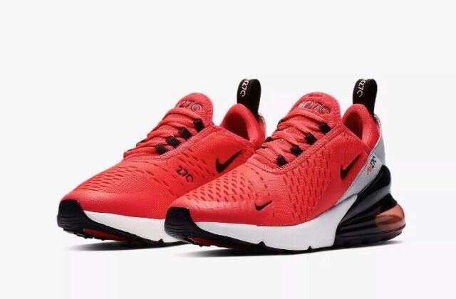 Nike Air Max 270 Gs Athletic Sneakers Red Orbit Black Grey Girls