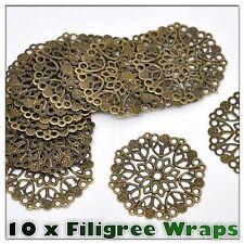 10 x Quality Antique Bronze Filigree Wrap Stamped Embellishments 35mm