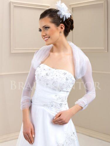 bkb-19g mariée bolero BOLERO Mariage stretch tulle strass 3//4 bras blanc O crème