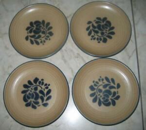Lot-of-4-Pfaltzgraff-USA-Folk-Art-7-1-4-034-Plates-Salad-Dessert-Bread-Dark-Tan-A