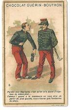 Chromo Guérin Boutron Humour J Minot JM soldat chaussure soulier cane militaire