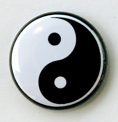"YING YANG - Novelty Button Pinback Badge 1"" Black & White"
