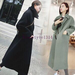 New-Women-039-s-Fashion-Long-Wool-Blend-Luxury-Overcoat-Korean-Outwears-Parkas-Coat