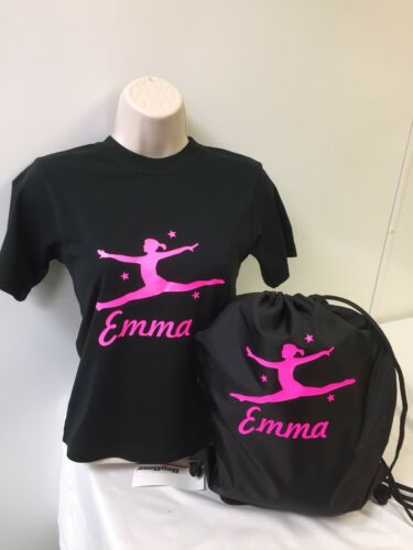 Girls Personalised GLITTER PRINT Dance//Gymnastic T Shirt 4 Designs AGE 2-13