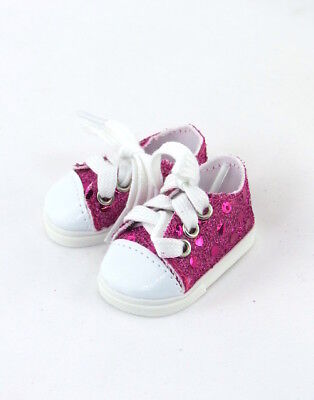 Hot Pink Sequin Sneakers 14.5  in Doll Clothes Fits American Girl Wellie Wishers
