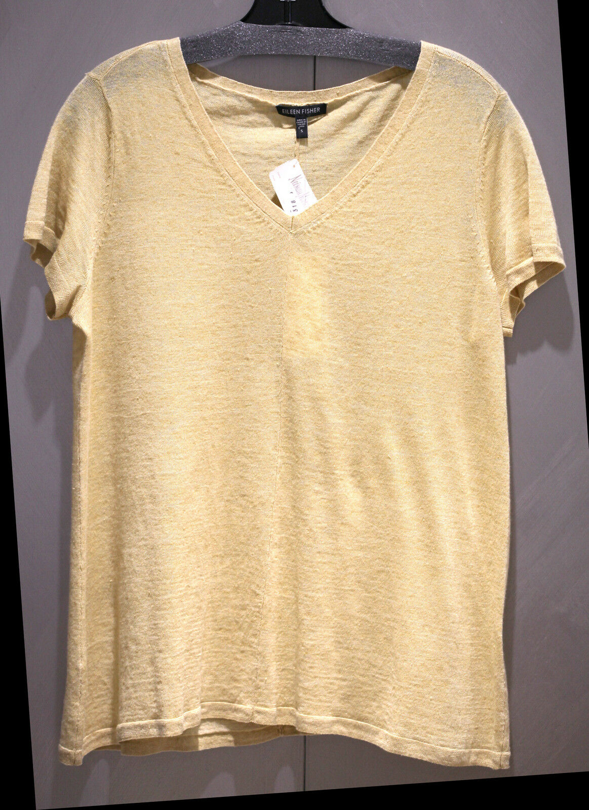 NWT Neiman Marcus Eileen Fisher 100% Fine Linen Gold Blouse Top  sz S FS
