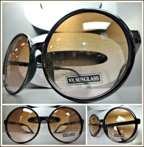 OVERSIZED Exaggerated RETRO Style SUNGLASSES Huge Round Frame XL Brown Pink Lens