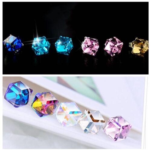 Womens Colorful Avoid Allergy Cube Crystal Rhinestone Ear Stud Earrings UK Stock