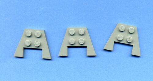 Lego--4859 -Flügel--Platte--Mit Ausschnitt 3 x 4 3 Stück--Grau//OldGray